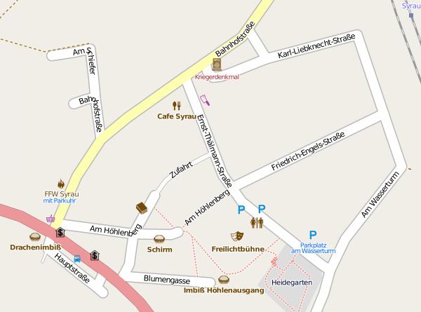 Kartenausschnitt von Syrau mit Standort Café Syrau