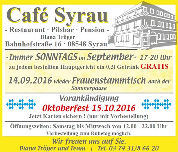 Angebote Cafe Syrau September/Oktober 2016