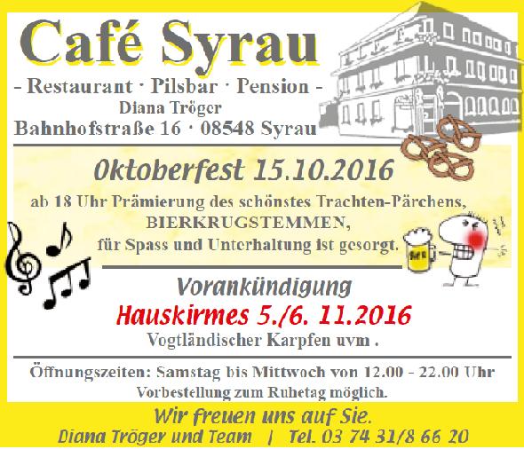 Angebote Cafe Syrau Oktober 2016