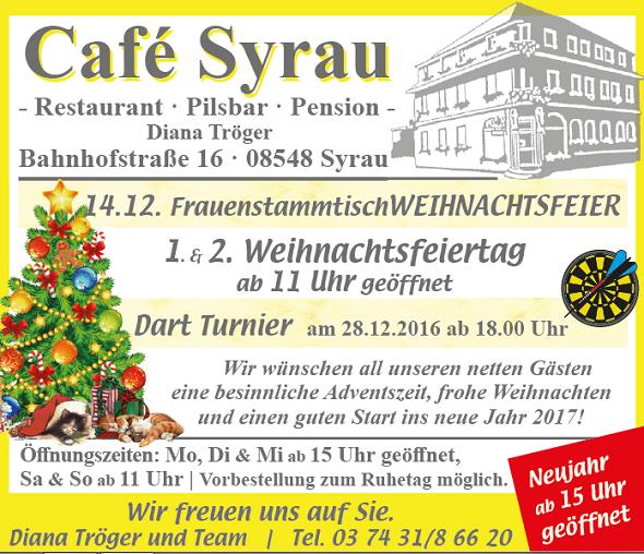 Angebote Cafe Syrau Dezember 2016