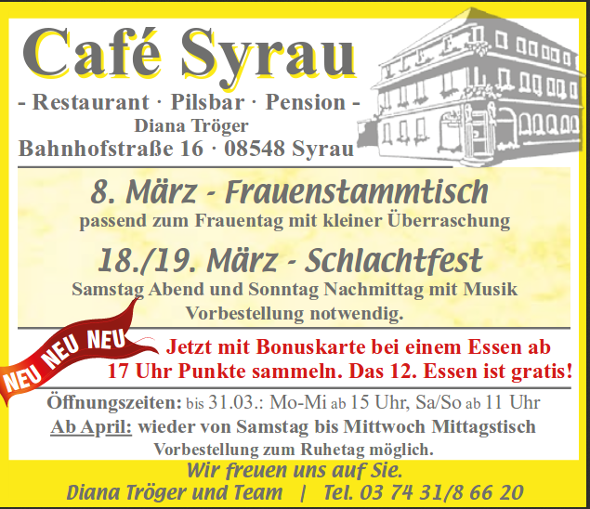 Angebote Cafe Syrau Maerz 2017