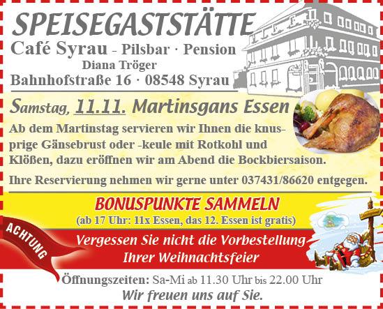 Angebot Cafe Syrau November 2017