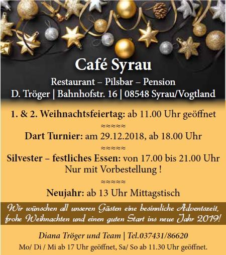 Angebot Cafe Syrau Dezember 2018